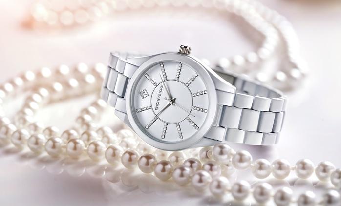Timothy Stone Damenuhr verziert mit Swarovski® Kristallen in Weiß oder Schwarz inkl. Versand (81 % sparen)