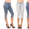 Red Jeans Women's Acid-Wash Capri Jeans. Plus Sizes Available.