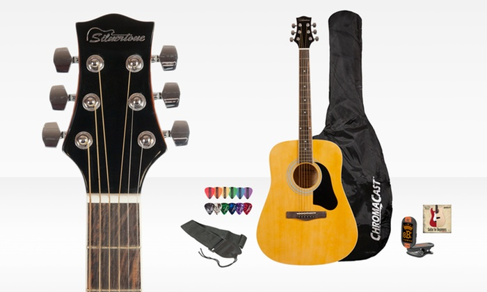 Silvertone Acoustic Guitar Bundle: $99.99 for a Silvertone Acoustic Guitar Bundle with Online Lesson ($311.73 List Price). Free Shipping and Returns.
