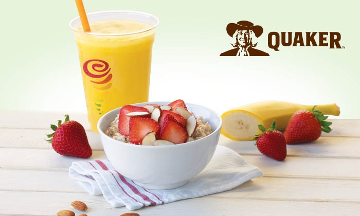Jamba Juice - Multiple Locations: Slow-Cooked, Steel-Cut Oatmeal with Customizable Toppings and Optional Drinks at Jamba Juice (Up to 44% Off)