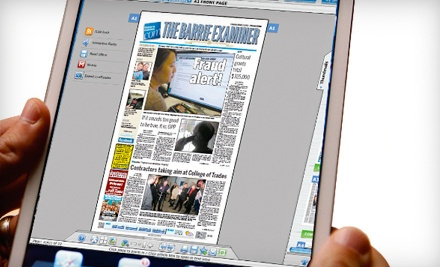 "$25 for One-Year Newspaper e-Edition Subscription to the ""Barrie Examiner"" ($54.10 Value, Including Tax)"