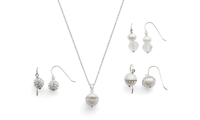 Pearl and Crystal Pendant and Earring Set: Pearl and Crystal Pendant and Earring Set.