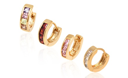 18K Gold-Plated Crystal Element Huggie Earrings