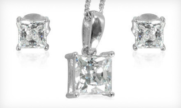 Jewelry Made with Swarovski Elements: Princess-Cut Earrings, Pendant, or Both Made with Swarovski Elements (Up to 88% Off). Free Shipping.
