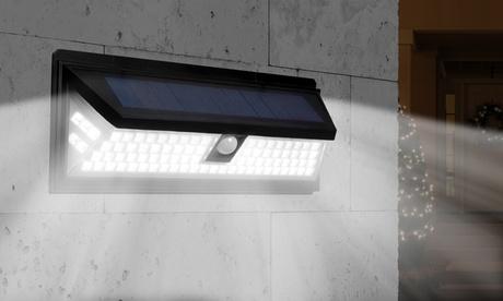 Applique LED solaire 180° éclairage puissant, résistante à l'eau avec détecteur de mouvement