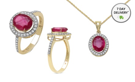 10K Gold Ruby and Diamond Pendant or Clarity-Enhanced Ruby Ring. Free Returns.