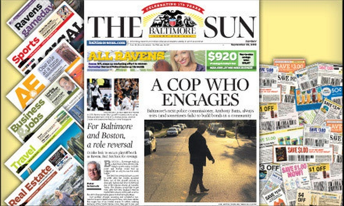 """The Baltimore Sun - Baltimore: $20 for 52-Week Wednesday and Weekend Subscription to the """"Baltimore Sun"""" (Up to $155.48 Value)"""