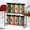 Eight-Jar Spice Rack with Grinders and Free 5-Year Spice Refills
