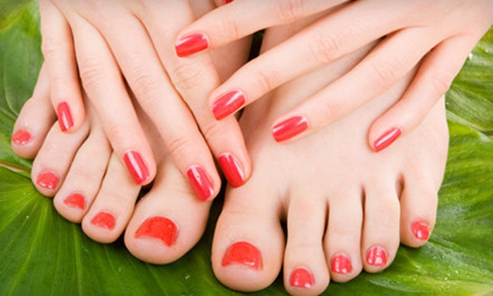 Happy Hands & Hair - Sandy at Happy Hands & Hair: One Gel Manicure with Option for Spa Pedicure or Two Gel Manicures from Sandy at Happy Hands & Hair (Up to 54% Off)