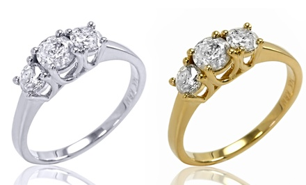 groupon daily deal - 1.00, 1.50, or 2.00 CTTW Certified 3-Stone Diamond Ring in 14K Gold from $699.99–$1,499.99. Free Returns.