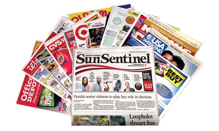 """Sun Sentinel"" - Deerfield Beach: $10 for a One-Year Sunday Subscription to the ""Sun Sentinel"" Newspaper ($208 Value)"