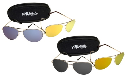 groupon daily deal - 2 Pairs of Piranha Aviator Sunglasses for Men and Women with Case. Multiple Colors Available. Free Returns.