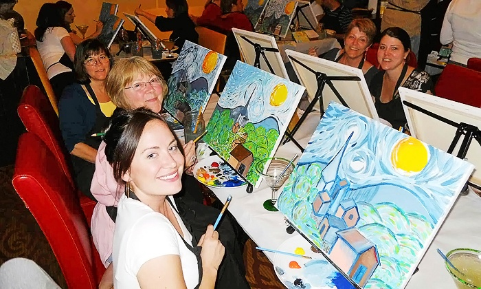 Wine and Canvas - Multiple Locations: $22 for a Painting Class at Wine and Canvas ($35 Value)
