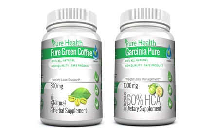 30-Serving Bottles of Garcinia Pure and Pure Green Coffee Weight Loss Supplements
