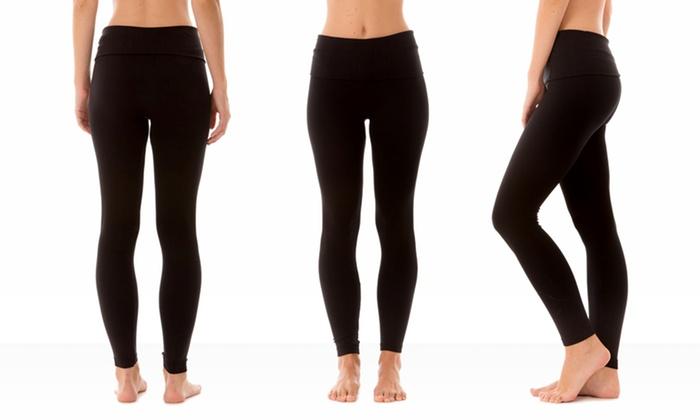 Yoga Leggings with Black Fold-Over Waistband: Yoga Leggings with Black Fold-Over Waistband. Free Returns.
