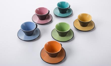 Set 6 tazzine con piattino Foodesign disponibili in diverse colorazioni