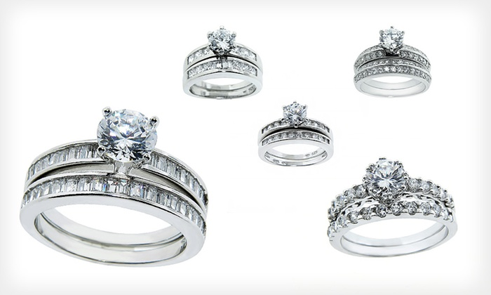 Cubic Zirconia WeddingRing Sets Groupon Goods