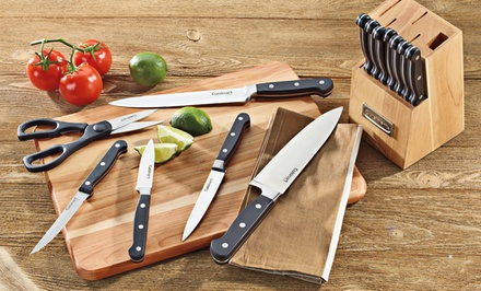 groupon daily deal - Cuisinart Advantage Forged Triple Rivet 14-Piece Black Cutlery Set and Block. Free Returns.