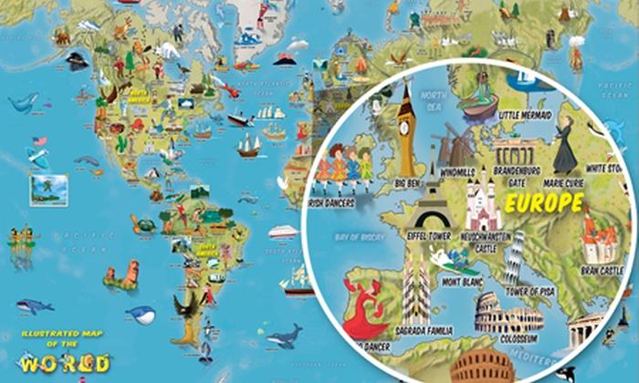 Kids\' Cartoon World Map   Groupon Goods