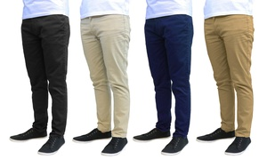Galaxy by Harvic Men's Slim Fit Cotton Stretch Chino Pants (2-Pack)