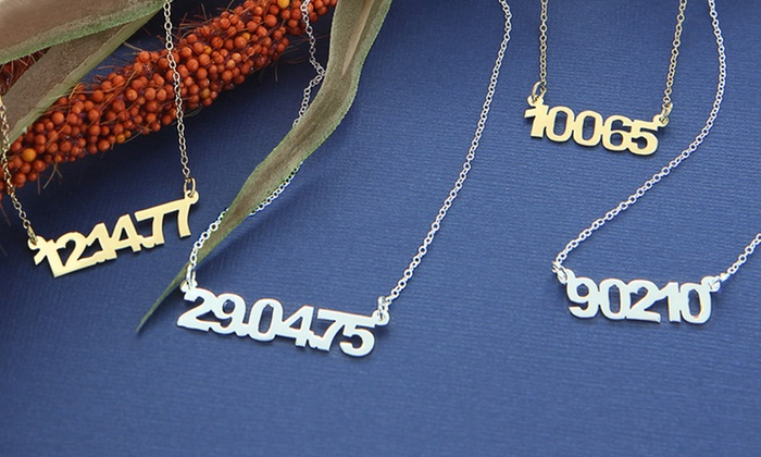 Personalized Zip Code or Date Necklaces: Sterling Silver or Yellow Gold Personalized Zip Code or Date Necklaces. Free Shipping.