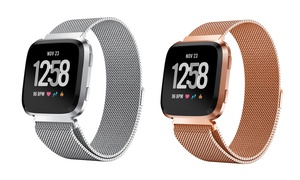 Stainless Steel Milanese Replacement Band for Fitbit Versa Smartwatch