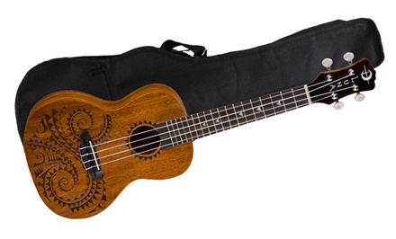Luna Guitars Tattoo Concert Mahogany Ukulele with Cleaning Cloth, Gig Bag, Stand, Tuner, and Lesson Guide