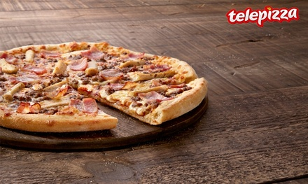 Pizza mediana o familiar de masa fina hasta 5 ingredientes desde 4,95 € en Telepizza