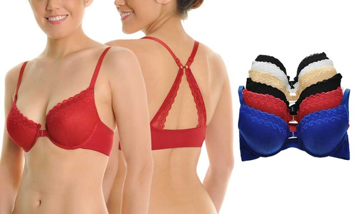 05476e8056 Angelina Wired Front-Closure Bras with Convertible Back (6-Pack ...