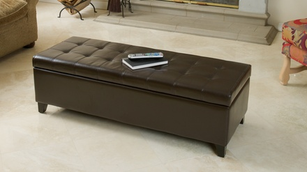Santa Rosa Dark Brown Tufted Bonded Leather Storage Ottoman Bench
