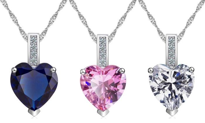 Colliers Cœur Saphir Clear Crystal en goldfilled 10 carats et Saphir de synthèse à 2490€ (91% de rduction)