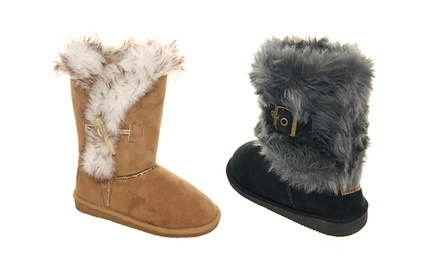 Rugged Bear Girl's Faux Fur Winter Boots. Multiple Options Available.