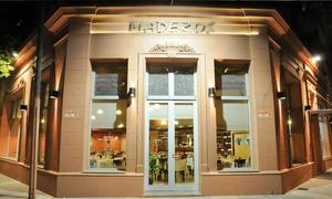 Los Maderos: Desde $279 por cena para dos o cuatro: entrada + plato principal + postre + copa de espumante en Los Maderos