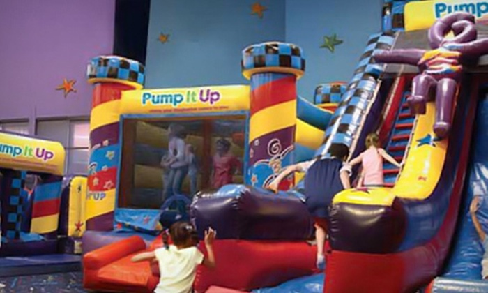 Pump It Up - Multiple Locations: Four or Eight Drop-In Bounce-House Visits or One Month of Unlimited Bounce-House Visits to Pump It Up (Up to 75% Off)