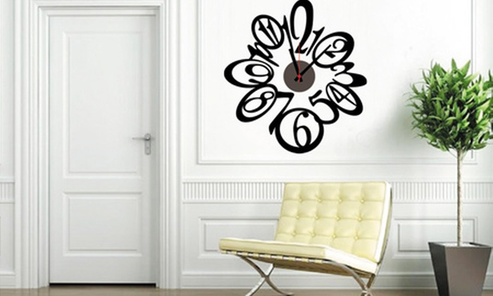 Horloge murale avec sticker 11 mod les disponibles groupon shopping for Grande pendule murale design