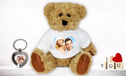 Personalized Photo Teddy Bear with Heart-Shaped Photo Key Ring from Printerpix