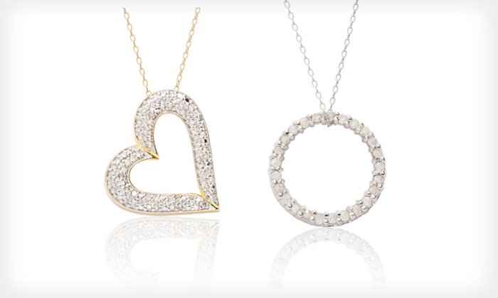 Sterling Silver Diamond Pendants: Sterling Silver Diamond Pendant Necklaces (Up to 93% Off). 4 Designs Available. Free Shipping.