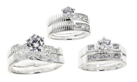 Sterling Silver Cubic Zirconia Wedding Ring Set. Multiple Designs Available.