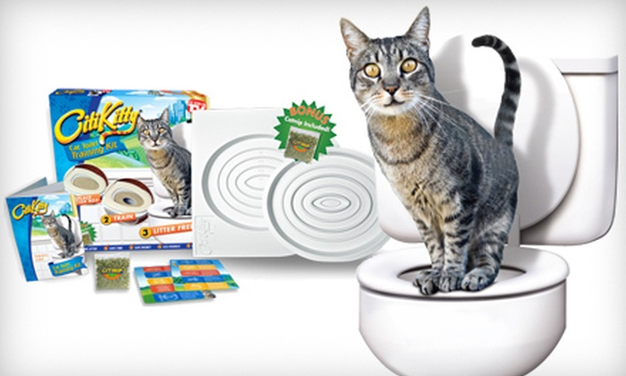 Cat toilet training system groupon goods for Commode kitty