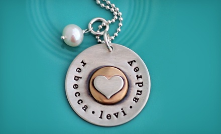 Hand-Stamped Sterling-Silver Jewelry and Keepsakes at The Vintage Pearl (Half Off). Two Options Available.