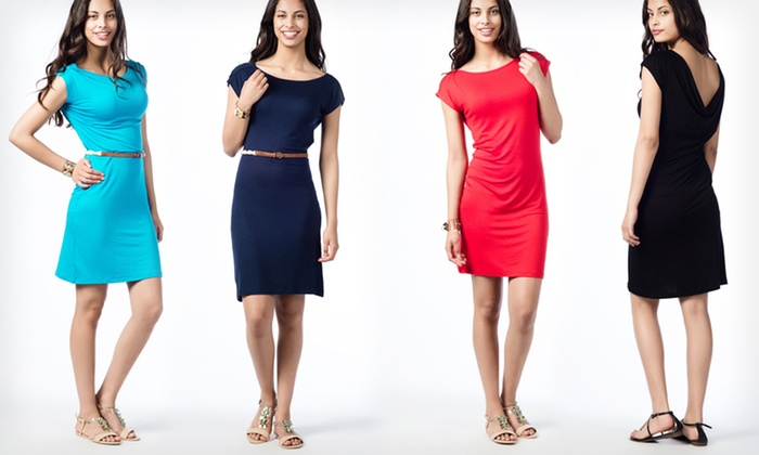 Scoop-Back Dresses: $18.99 for a Scoop-Back Dress in Black, Navy, Red, or Turquoise ($49.50 List Price). Free Shipping and Returns.