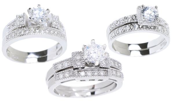 18 Karat White Gold And Cubic Zirconia Bridal Sets