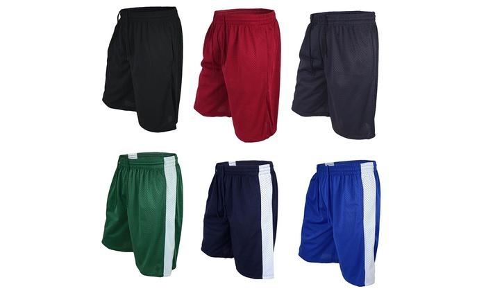 Lee Hanton Men's Basketball Athletic Mesh Shorts Solid and Stripe