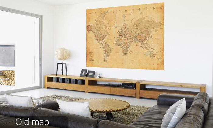 D co murale carte du monde groupon shopping - Carte du monde deco murale ...