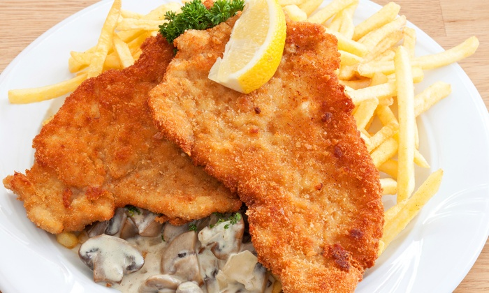 Linden Burger - Linden Burger: Jägerschnitzel-Menü mit Pommes frites und kleinem Salat für Zwei oder Vier im Linden Burger ab 9,90 €
