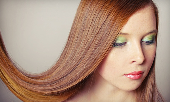 Salon Xcess - East Village: Salon Package with Shampoo, Blow-Dry, and Deep Conditioning, or Keratin Treatment at Salon Xcess (Up to 52% Off)