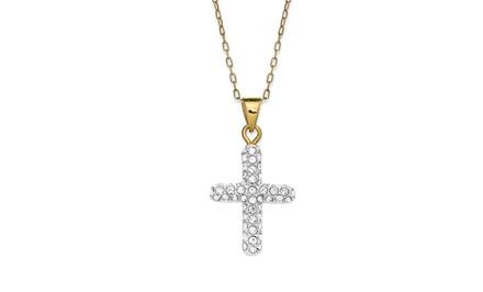 14k Gold Cross Pendant with Swarovski Elements