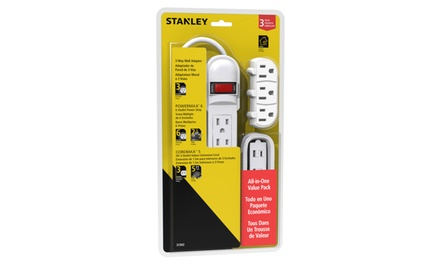 Stanley PowerMax 3 Piece Outlet Kit - Power Strip, Wall Adapter, and Extension Cord