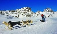 Ruta en trineo o moto de nieve biplaza, alquiler de raquetas y construcción de iglú para 2 o 4 desde 99 € en Tenapark