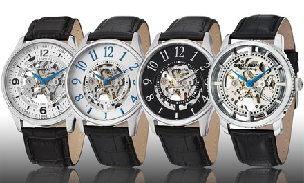 Stuhrling Men's Skeleton Watch with Interchangeable Strap. Multiple Colors Available. Free Returns.